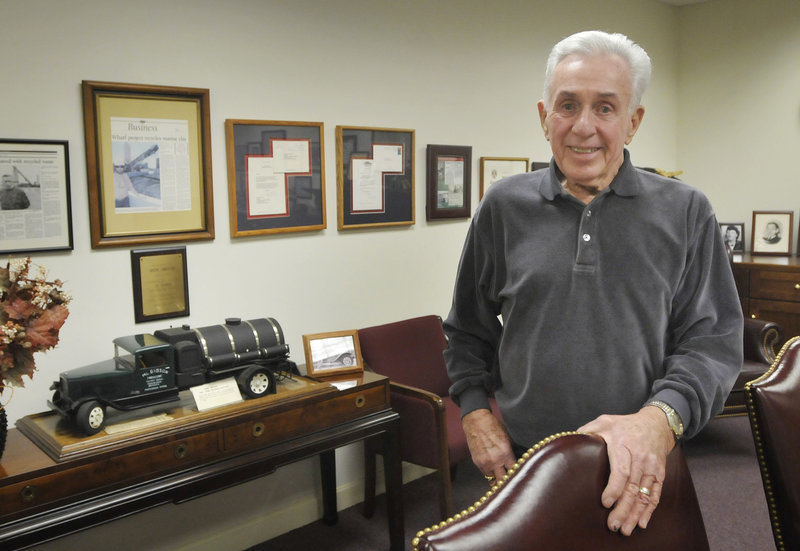 "Marshall ""Jack"" Gibson, a philanthropist who visits cancer patients at Maine Medical Center and works as a commercial real estate developer, spends time Monday at his office in South Portland. ""I have a fairly good sense of humor, and I like to help people feel better a little bit,"" he said."