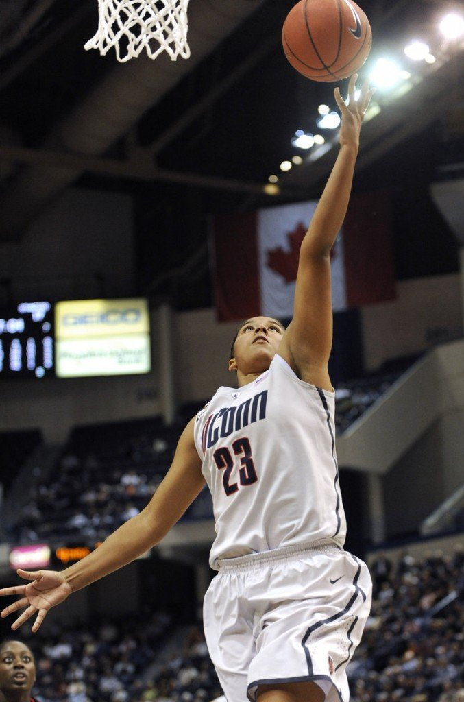 Kaleena Mosqueda-Lewis of UConn scores in the first half Monday night against Stanford.