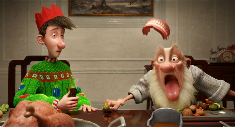 """Arthur (voiced by James McAvoy) and Grandsanta (voiced by Bill Nighy) in the animated holiday feature """"Arthur Christmas."""""""