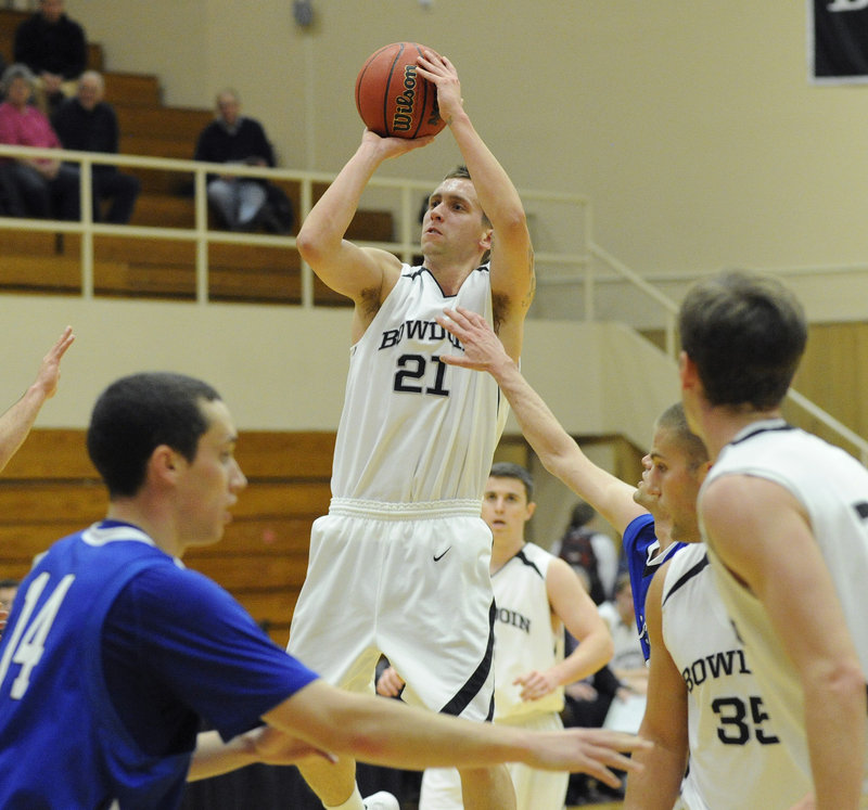 Ryan O'Connell, who finished with 19 points Tuesday night for Bowdoin, finds room to shoot during the 70-68 loss to St. Joseph's. The Monks improved to 2-1 and sent the Polar Bears to their first loss after two victories.