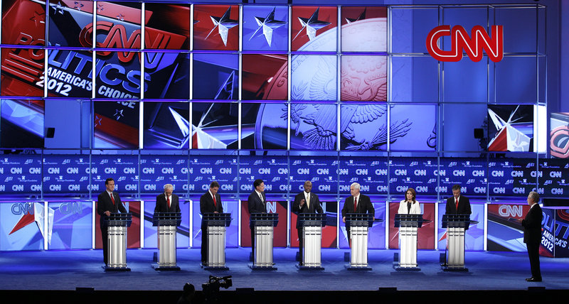 Republican presidential candidates debate national security issues Tuesday night in Washington. All but Rep. Ron Paul backed the Patriot Act. Paul said it undermines liberties.