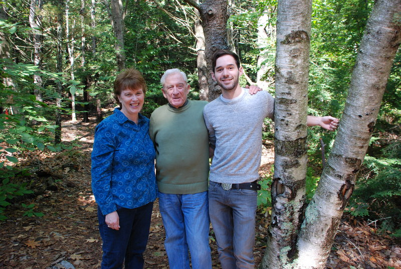 """From left, Lynne Plourde, Donn Fendler and Ben Bishop. Plourde and Fendler co-wrote and Bishop illustrated the """"Lost Trail"""" graphic novel."""