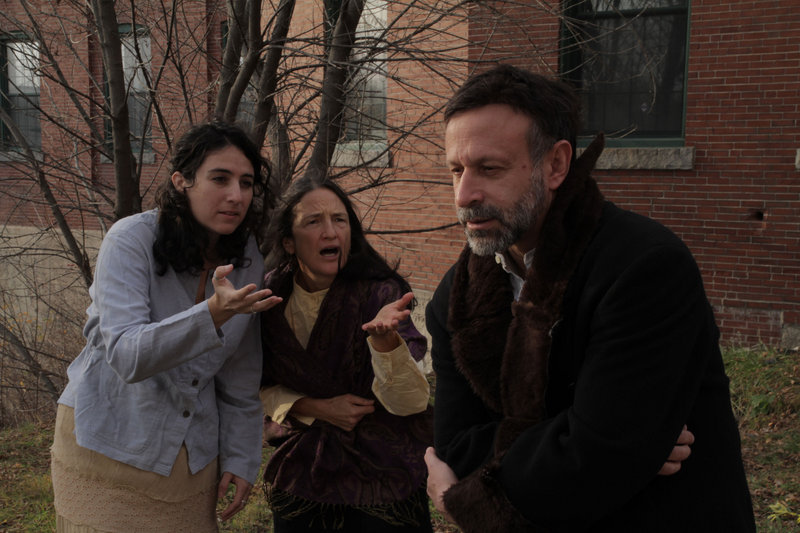"Laura Vitanza and Cynthia Eyster as villagers and Hal Cohen as Shmerel the beggar in Acorn Productions' ""The Wandering Beggar,"" which opens Friday and continues through Dec. 18 at the Acorn Studio Theater in Westbrook. The play, an adaptation by local playwright Howard Rosenfield of a 1931 Yiddish book by Solomon Simon, features a collection of vignettes in which the title character must deal with dishonest servants and greedy kings. 854-0065; acorn-productions.org"