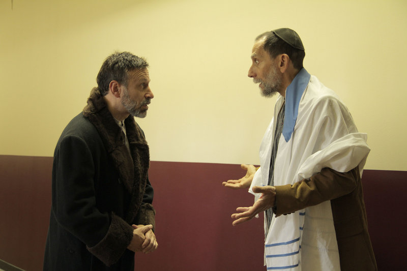 "Hal Cohen, left, and David Handwerker in Acorn Productions' ""The Wandering Begger,"" a celebration of Jewish culture continuing through Dec. 18 at the Acorn Studio Theater in Westbrook."