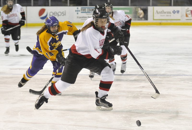 Sarah Martens of Scarborough has an eye for the puck and the ability to turn opportunities into goals for the Red Storm.
