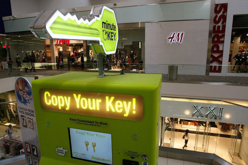 A key duplication machine is available for customers to use at the Westfield Culver City shopping center in Culver City, Calif. As retail spending has gradually shifted to the Internet, enclosed shopping centers best known for department stores, teen apparel chains and shoe shops are increasingly adding services people typically find closer to home, making for a one-stop-shopping experience.