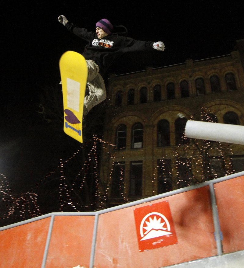 A rider soars over Monument Square in Portland last year during the Downtown Showdown. It's uncertain whether that exhibition will be staged again this winter.