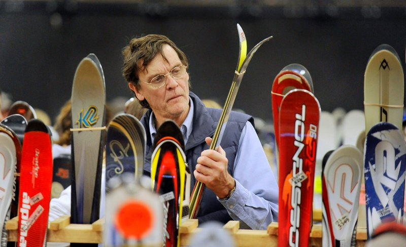 Dan Field of Bangor stopped by the sale to look at skis on his way home from a trip to Boston.