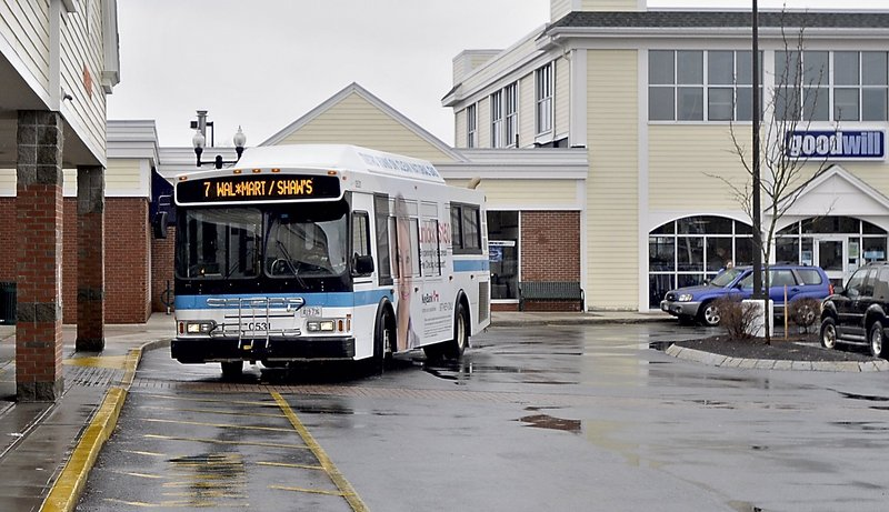 A Metro bus arrives at Shaw's supermarket in the Falmouth Shopping Center after stopping at Walmart.