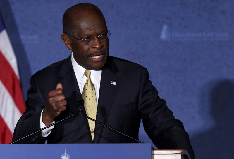 At Hillsdale College in Hillsdale, Mich., Tuesday, presidential candidate Herman Cain stuck to his planned speech on his foreign policy vision and did not refer to accusations of inappropriate sexual behavior or the future of his campaign.