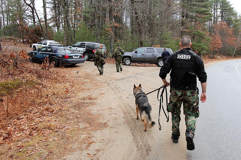 Police officers return to their cars after searching an area off Whichers Mills Road in Alfred today. K-9 teams from the Lisbon and Auburn police departments, the Androscoggin County Sheriff and Maine State Police are among those involved in the search.