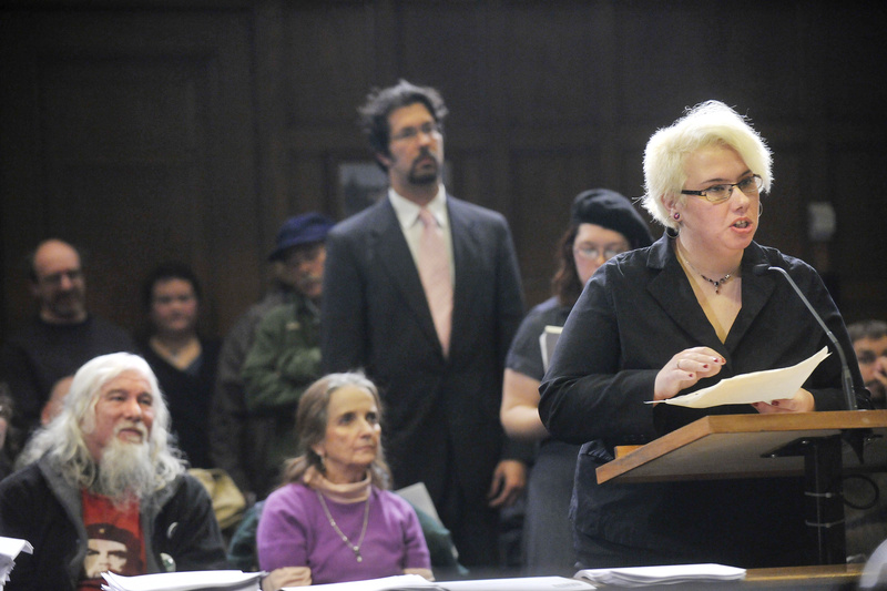 At a public hearing before the Portland City Council, Tabitha Woodside of Portland speaks in support of Occupy Maine as its organizers sought a permit Wednesday to continue a 24-hour protest in Portland's Lincoln Park. More than 50 people spoke during a three-hour public hearing, and all but a handful supported the encampment.