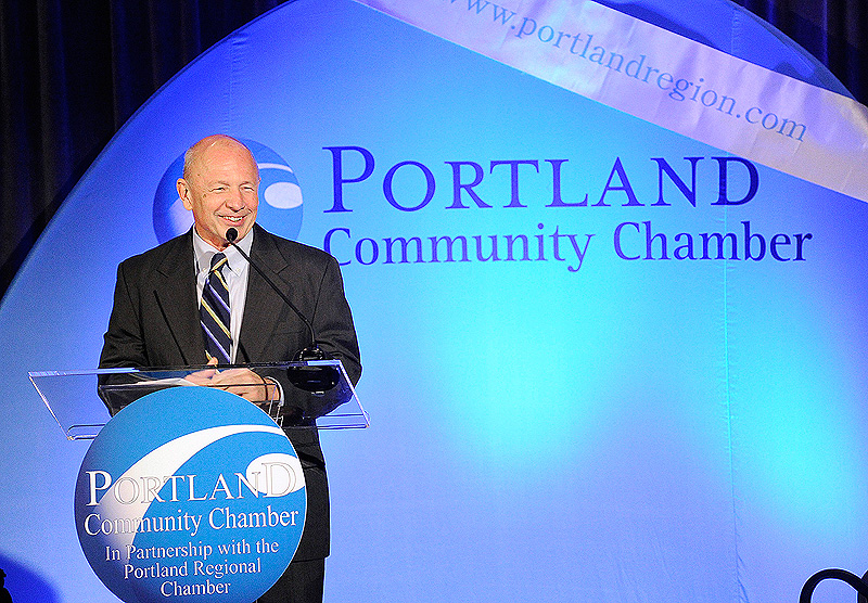 John Patriquin/Staff Photographer. Wednesday, Dec.7, 2011. Newly sworn-in Portland mayor Michael Brennan speaks at Portland Chamber's Eggs and Issues breakfast at the Holiday Inn by the Bay in Portland.