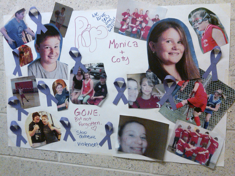A poster hanging at the Ridge View Community School in Dexter in June shows a montage of photos honoring Monica and Coty Lake. Both children were shot and killed June 13 by their father, who also killed their mother and took his own life. A panel of law enforcement officers has suggested changes to reduce the risk of such tragedies.