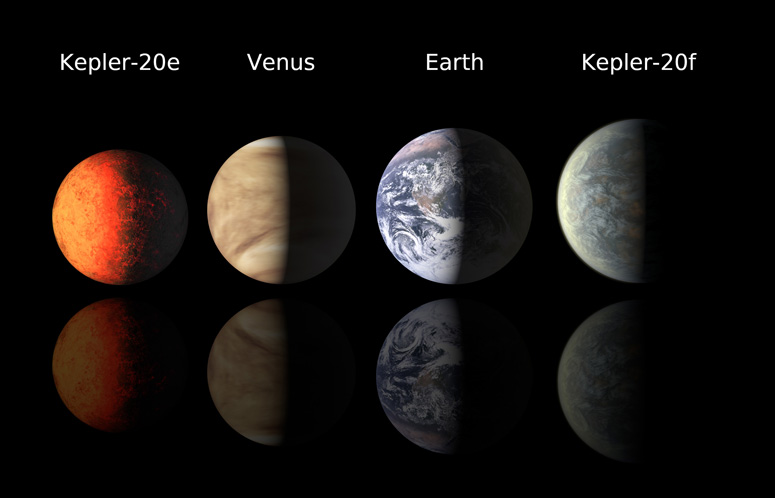 This image provided by the Harvard-Smithsonian Center for Astrophysics shows artist's renderings of planets Kepler-20e and Kepler-20f compared with Venus and Earth.