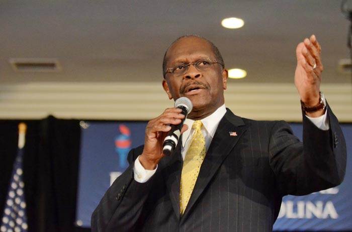 Republican presidential candidate Herman Cain speaks to supporters in Rock Hill, S.C., on Friday.