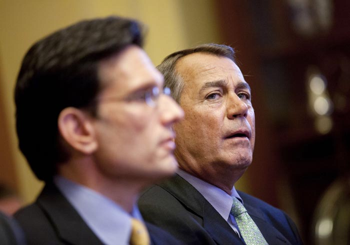 Speaker of the House Rep. John Boehner, R-Ohio, right, and House Majority Leader Rep. Eric Cantor, R-Va., hold a meeting with the conference committee on the payroll tax cut on Wednesday, Dec. 21, 2011 in Washington. (AP Photo/Evan Vucci)
