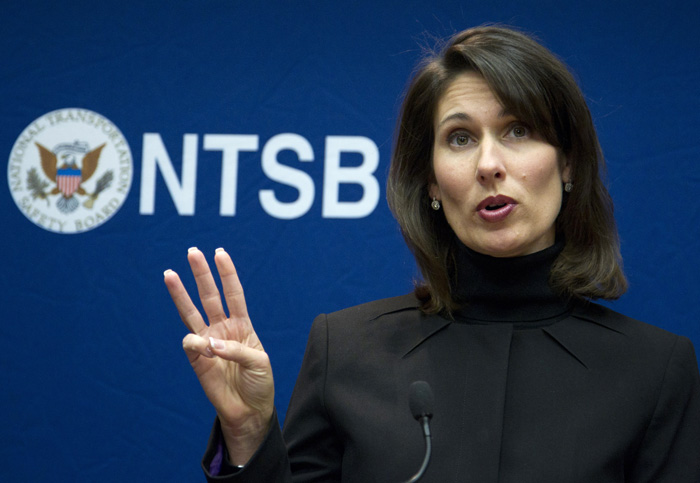 National Transportation Safety Board Chairwoman Deborah Hersman discusses the board's recommendations during a news conference in Washington today.