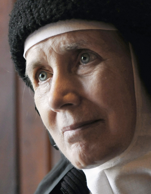 Mother Dolores Hart is interviewed inside the Abbey of Regina Laudis monastery in Bethlehem, Conn., on Thursday. Mother Dolores and about 40 other nuns cloistered at the abbey need millions of dollars in renovations to meet fire and safety codes, add an elevator and make handicap accessibility upgrades.
