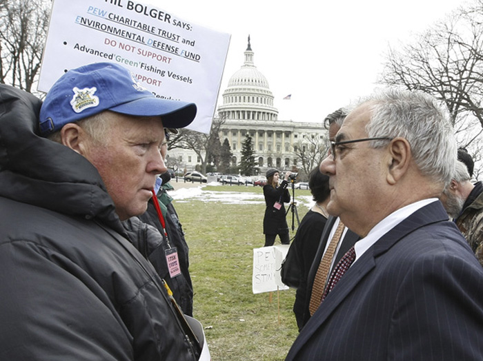 In this Feb. 24, 2010, photo, Art Smith, left, talks to U.S. Rep. Barney Frank, D-Mass., on Capitol Hill during the United We Fish rally.