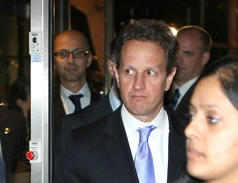 U.S. Treasury Secretary Timothy Geithner arrives at a meeting Wednesday with Spanish Prime Minister-elect Mariano Rajoy Brey in Marseille, France. Geithner said he was encouraged with Europe's progress on a plan to shore up the euro.