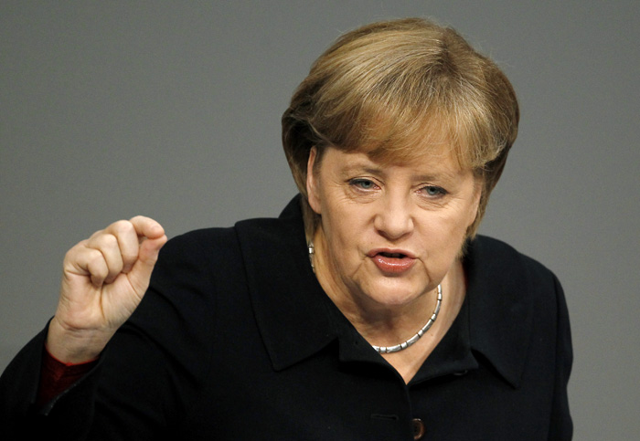 "German Chancellor Angela Merkel: "". . . Fears or concerns that we are reading about or hear that Germany wants to dominate Europe or some such . . . That is absurd."""