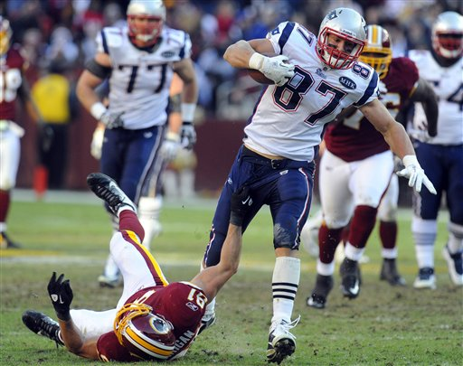 New England Patriots tight end Rob Gronkowski (87) breaks away from Washington Redskins outside linebacker Ryan Kerrigan (91) for a touchdown during the second half of an NFL football game on Sunday, Dec., 11, 2011, in Landover, Md. (AP Photo/Rich Lipski) NFLACTION11;