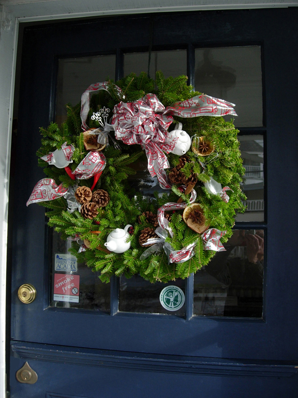 Submitted by Roger and Patricia Samuel of Bar Harbor. The wreath was decorated by the Bar Harbor Bed & Breakfast Assoc. to support the Maine Coast Mission and auctioned on December 2 where we acquired it.