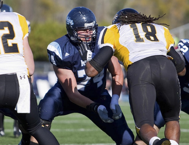 Josh Spearin has progressed from a freshman starting on the offensive line at the University of Maine to a junior helping the Black Bears reach the quarterfinals of the NCAA playoffs.