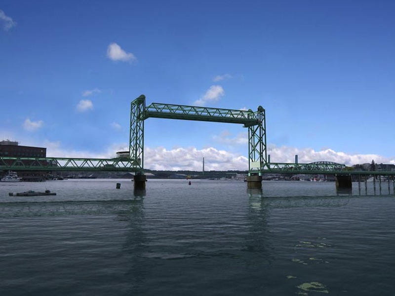 This computer-generated rendering shows the proposed bridge in the open position.