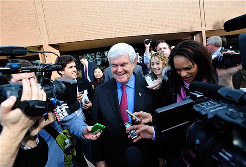Republican presidential candidate, former House Speaker Newt Gingrich speaks to the media after a business forum, Thursday, Dec. 8, 2011, in Greenville, S.C. (AP Photo/Rainier Ehrhardt)