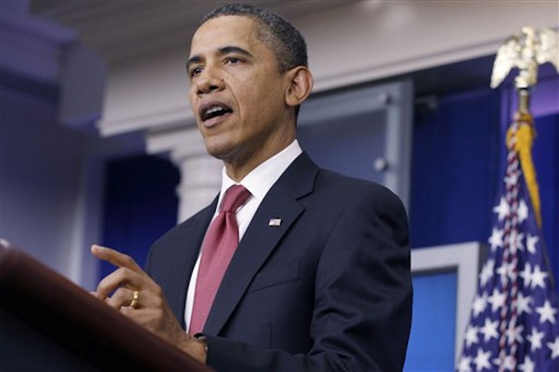 President Barack Obama makes a statement to reporters in the James Brady Press Briefing Room at the White House in Washington, Monday, Dec. 5, 2011, urging Republican lawmakers to pass the payroll tax cut. (AP Photo/Charles Dharapak)