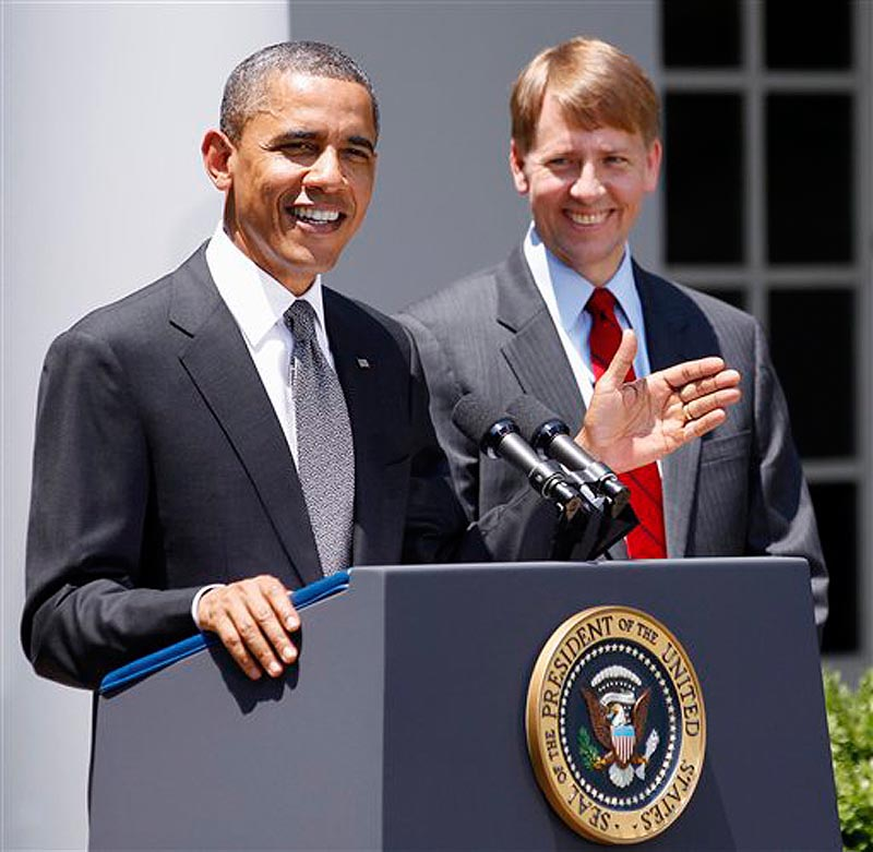 In this July 18, 2011 file photo, President Barack Obama and presidential nominee to serve as the first director of the Consumer Financial Protection Bureau (CFPB), former Ohio Attorney General Richard Cordray are seen in the Rose Garden of the White House in Washington. Senate Republicans have blocked President Barack Obama's choice to head the consumer protection agency that was created after the 2008 financial meltdown. (AP Photo/Manuel Balce Ceneta, File)
