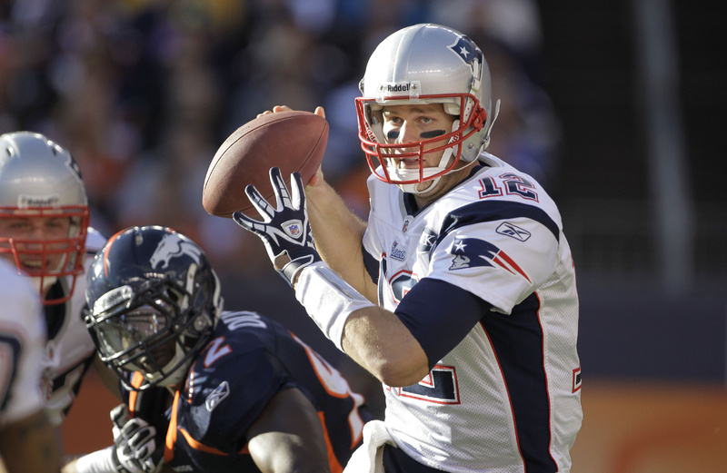 New England Patriots quarterback Tom Brady looks to pass against the Denver Broncos last Sunday. Tom Brady sat around until the sixth round of the 2000 draft; he was selected after quarterbacks Chad Pennington, Giovanni Carmazzi, Chris Redman, Tee Martin, Marc Bulger and Spergon Wynn.