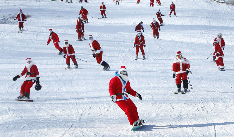Santas on the slopes at Sunday River today.