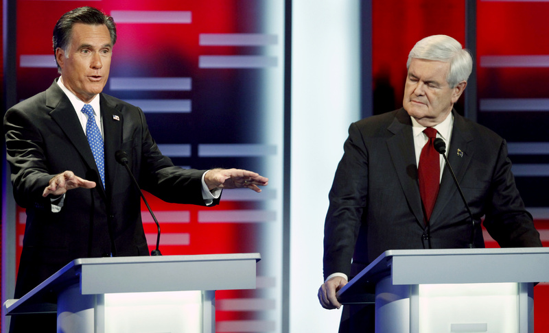 "Newt Gingrich, right, told former Massachusetts Gov. Mitt Romney on Saturday, ""The only reason you didn't become a career politician is because you lost to Teddy Kennedy in 1994."" Romney quipped that if he'd achieved his childhood dream, ""I would have been a football star all my life, too."""