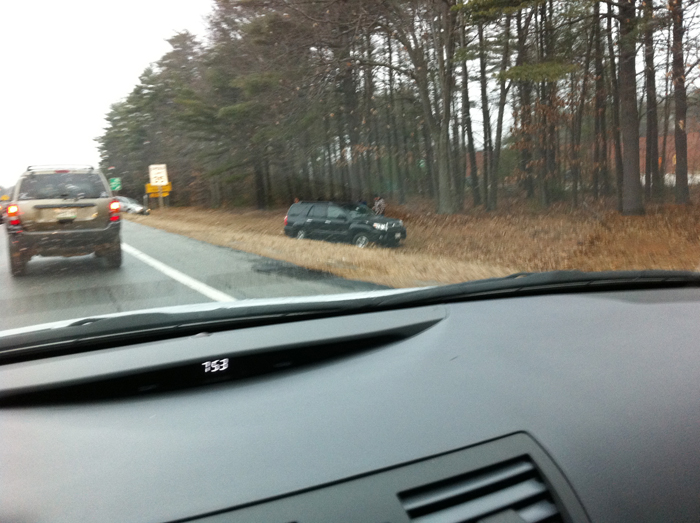 This reader-submitted photo shows a vehicle in a ditch in the Maine Mall area this morning.