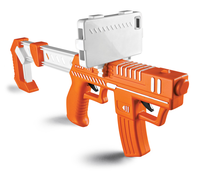 With the $19.99 Appblaster by Spin Master Ltd., users slip an iPhone or iPad touch into the frame on top and blast away at aliens that pop up on the screen. The toy is designed for kids 8 and over.