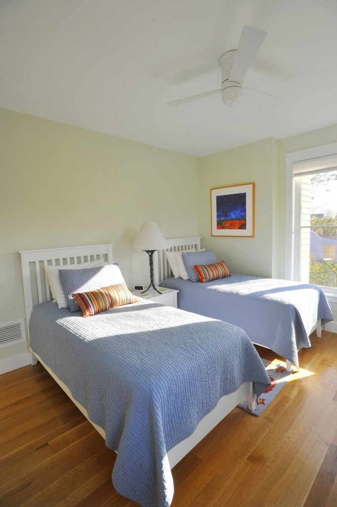 A bright and airy spare bedroom on the second floor.