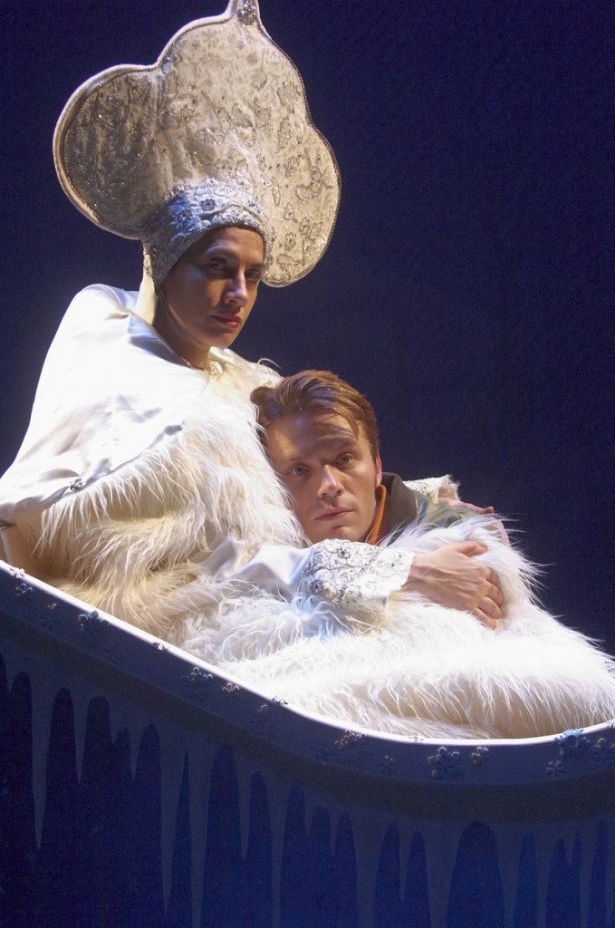 """The Snow Queen (Patricia Buckley) bewitches Kai (Ian Carlsen) as she takes him off to the Land of Winter in """"The Snow Queen."""""""