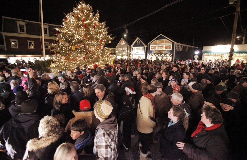 A large crowd gathered last year in Kennebunkport for the annual tree-lighting ceremony in Dock Square. The 2011 lighting happens at 5:30 p.m. Friday.