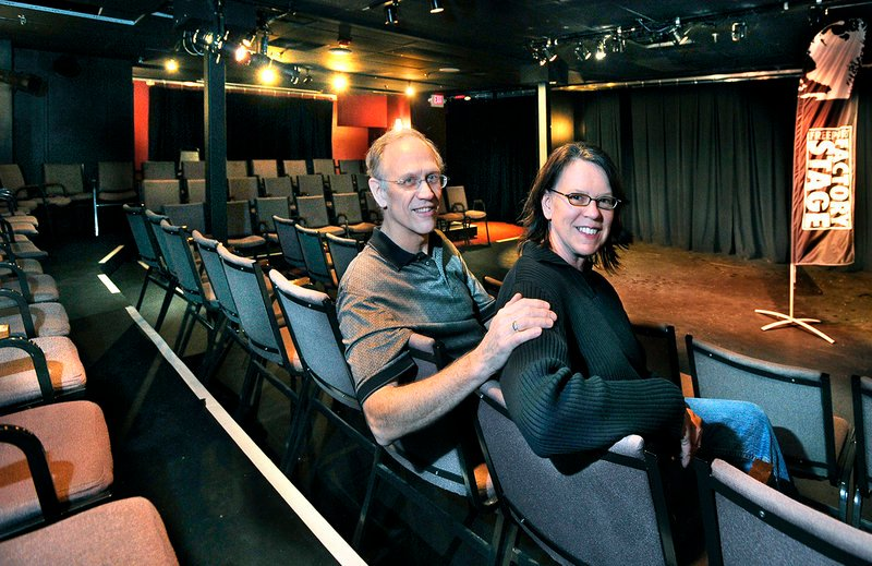 "Bud and Julie George-Carlson, above, in the performance space at Freeport Factory Stage on Depot Street. Next up, a holiday production of Dickens' ""A Christmas Carol."""