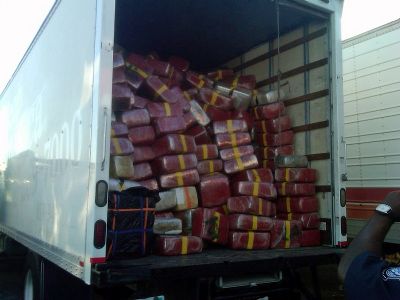 This photo provided by U.S. Immigration and Customs Enforcement shows a tractor-trailer loaded with more than nine tons of marijuana after it was seized Tuesday.