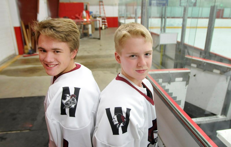 Gordon Potter, left, of Noble will be a teammate of Connor Pease of Wells this hockey season as the schools have combined to form a co-op team.