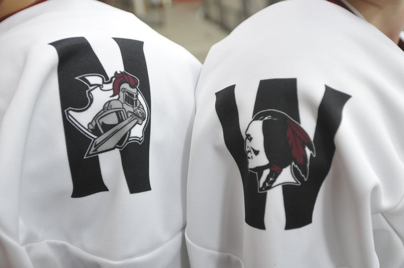 The Noble/Wells' hockey uniform will represent both teams – the Wells Warrior logo on the right shoulder, the Noble Knights' logo on the left.