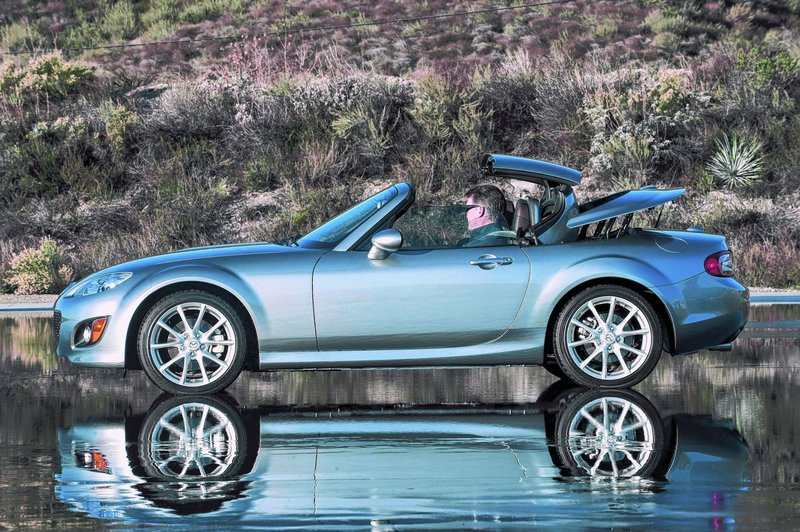 Mazda courtesy photos Mazda's MX-5 Miata looks great with its top up or down and appealing from any angle – including the driver's seat.