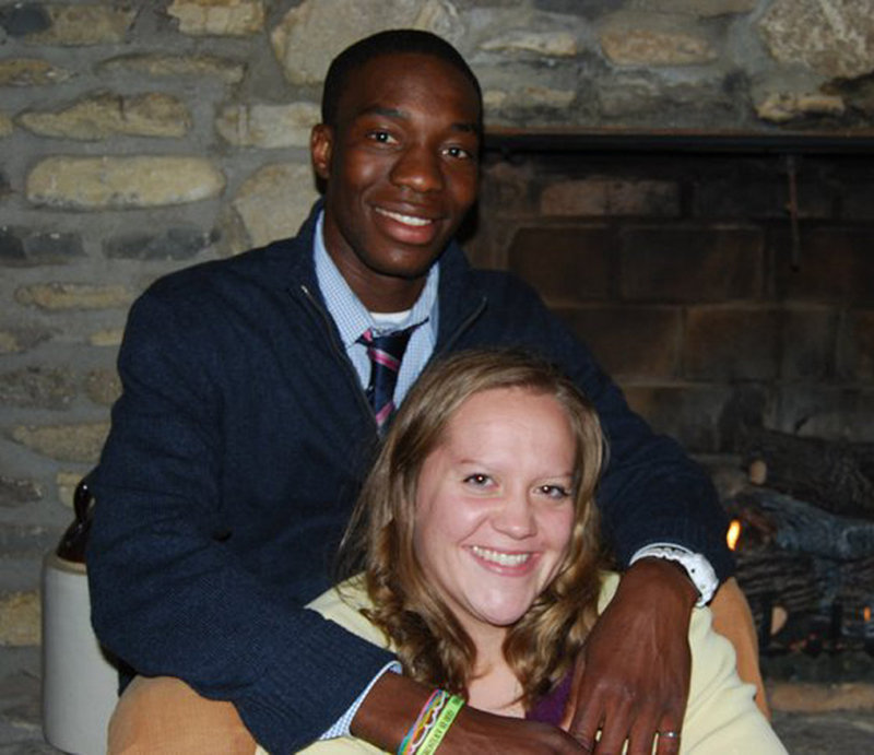 Stella Harville and her fiance, Ticha Chikuni, are shown in Richmond, Ky. Her church in Pike County, Kentucky, has voted to ban interracial couples from becoming members.