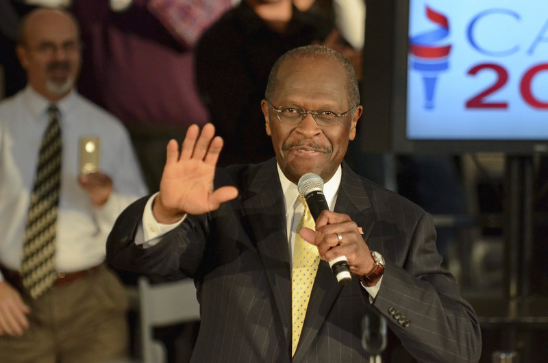 "Herman Cain speaks to supporters on Friday in Rock Hill, S.C. The Republican presidential candidate said, ""There's a lot of garbage out there about me, don't you know? There's a lot of misinformation out there."""