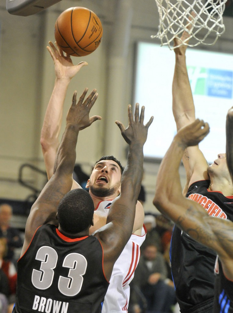 Dominic Calegari joined the Red Claws on Saturday morning, and hours later was putting up a shot in traffic during a 112-107 loss to the Springfield Armor in the home opener.