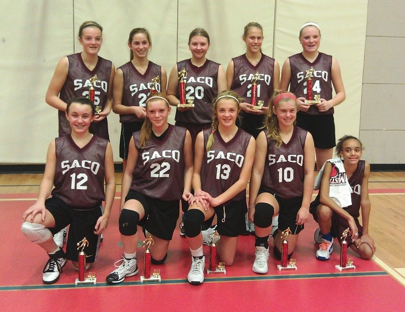 This Saco team won the Mustang Classic, a tournament for basketball travel teams. Front, left to right: Isabella Robinson, Kaylee Burns, Cassidy Cochrane, Lexi Nason, Alex Hart. Back, left to right: Kylee Austin, Olivia Libby, Paige Sawyer, Ashley Howe, Maizie Lee.